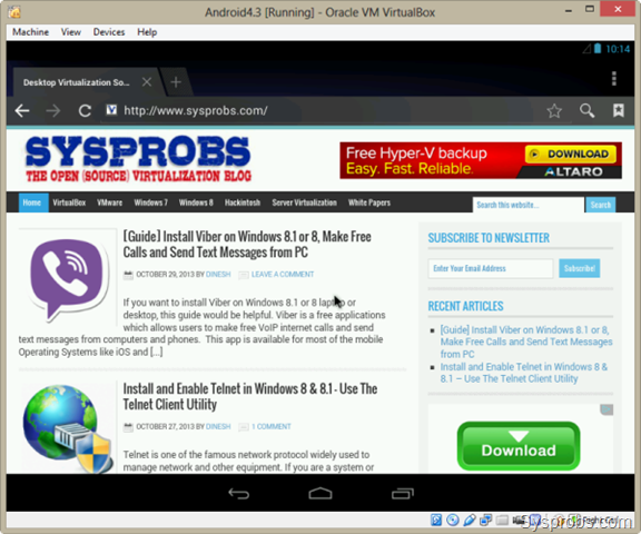 android virtual machine for windows 8