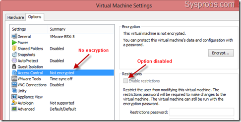 option disabled without encryption
