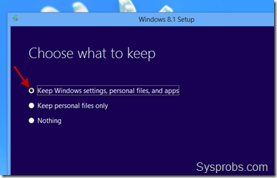 select option to keep existing data in windows 8.1