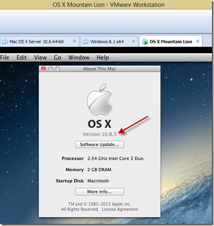updated os x 10.8.5 vmware