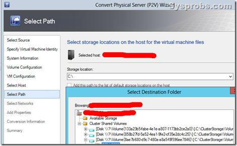 select the disk on hyperv host