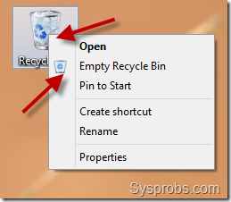 empty recycle bin windows 8 or 8.1