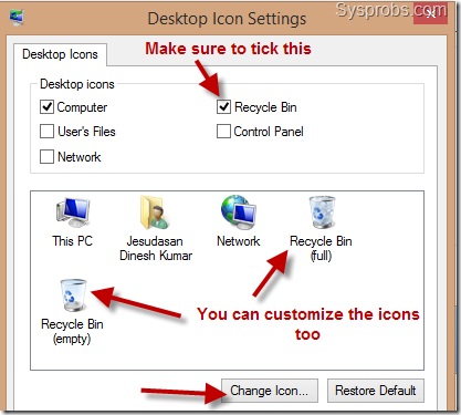 show recycle bin icon in windows 8.1