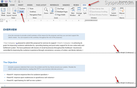 draft mode view section breaks word 2013