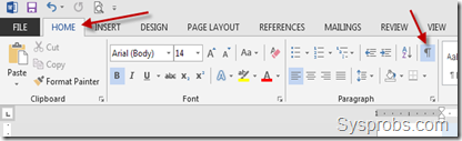 enable show hide in word 2013