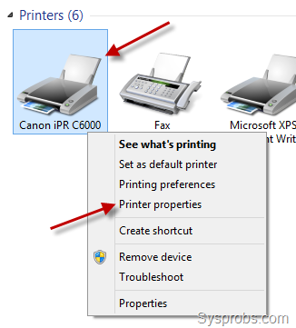 click printer properties