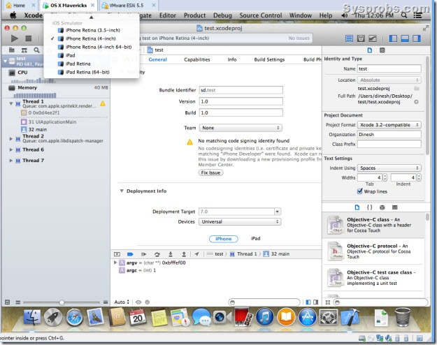 working xcode 5 on Windows 8