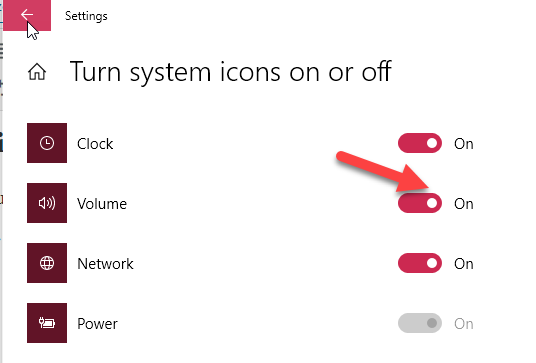 Turn On Volume Icon On Windows 10