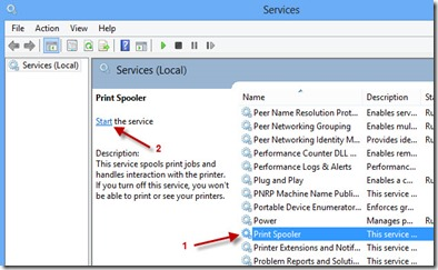 print spooler service start on Windows 8.1