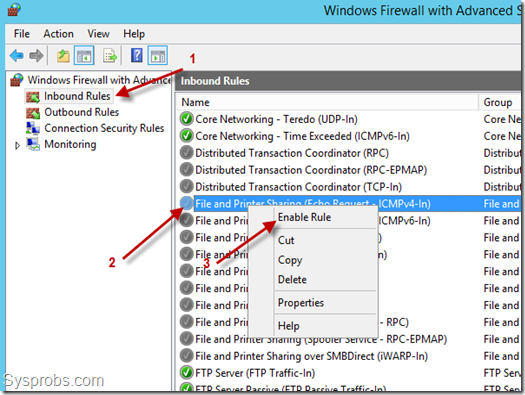 enabe icmp echo request in windows 2012 R2