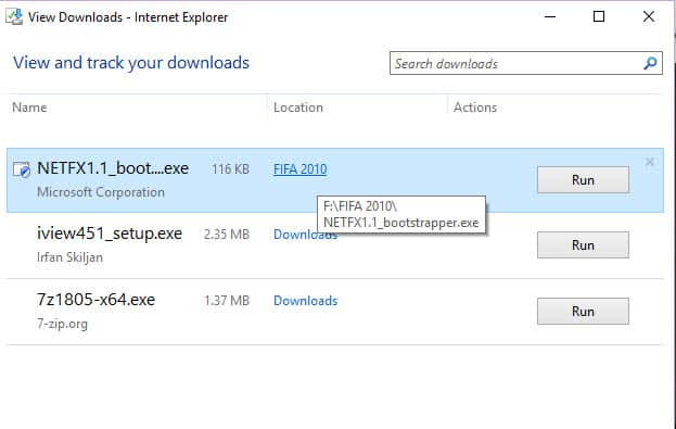 IE Download Location In Windows 10