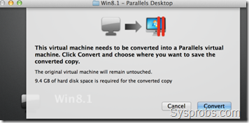 required space for VDI to Parallels
