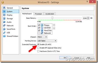 Motherboard settings for Windows 10 on VirtualBox