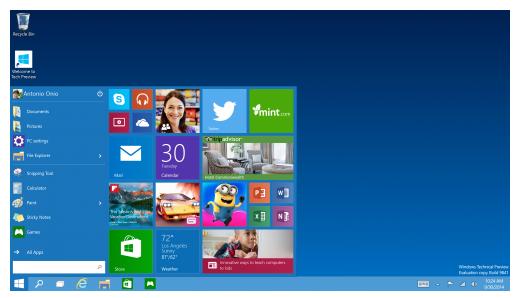 Windown 10 start menu