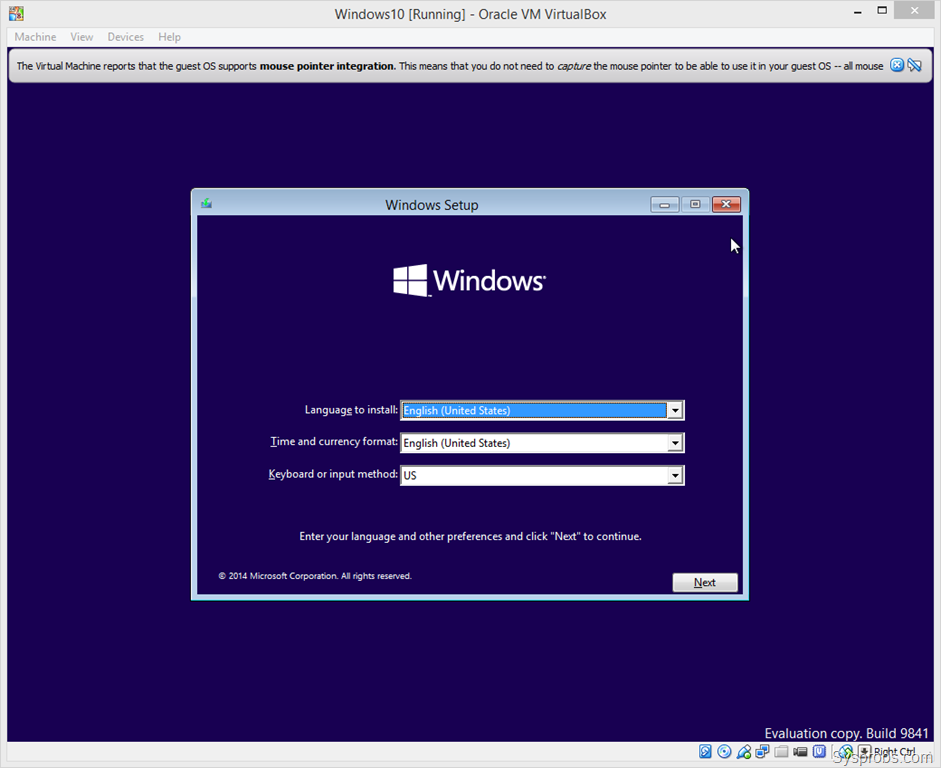 Windows 10 на virtualbox