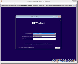 Windows 10 installation on VirtualBox