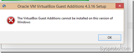 guest additions on Windows 10 error