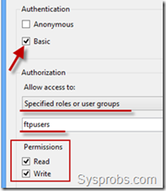 ftp access in Windows 2012 R2