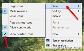 show all desktop icons in Windows 10