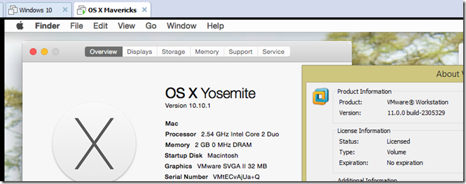 Working Yosemite on VMware 11