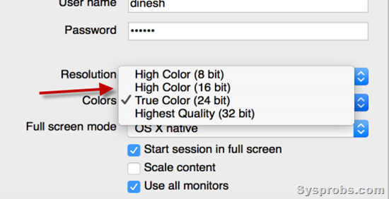 more color settings in Mac Remote desktop
