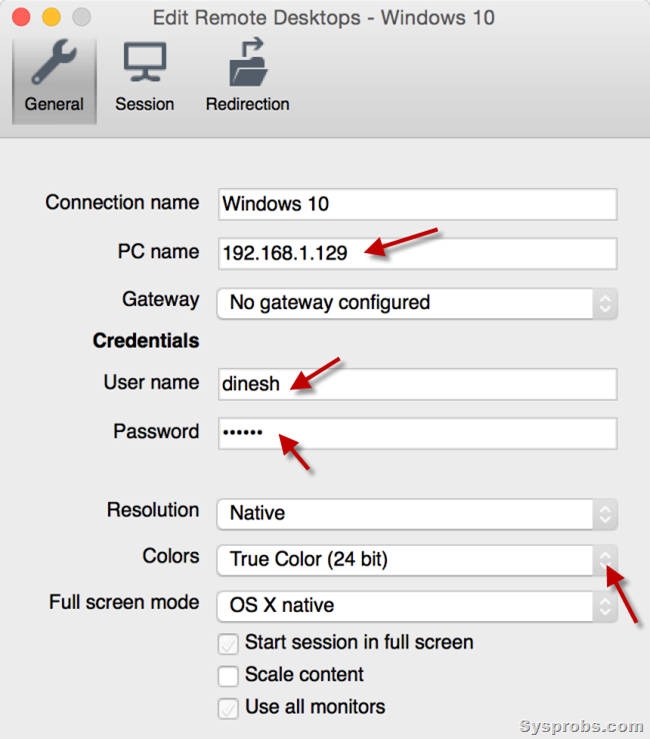 settings of Windows 10 RDP on Mac