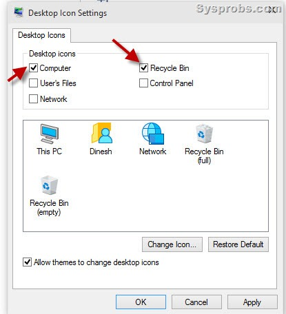 How to Display My Computer on Windows 10 Desktop, This PC and Recycle Bin Too