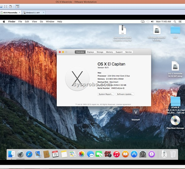 working os x 10.11 on VMware workstation