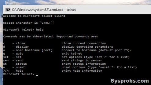 working telnet client
