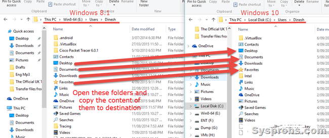 copy files from Windows 8.1 to 10