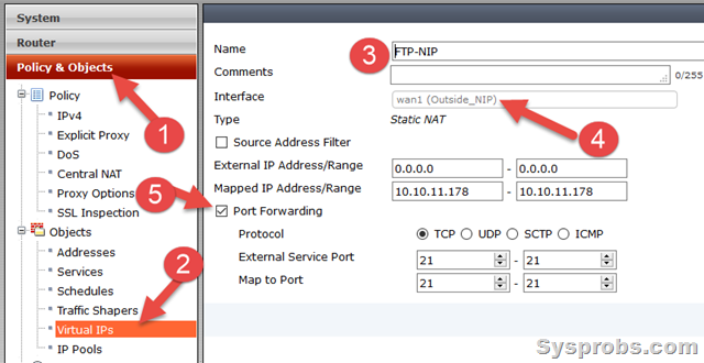 create virtual ip - fortigate port forwarding
