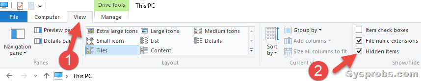enable hidden folders