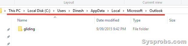 pst file location on Windows 10