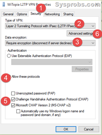 L2TP VPN settings