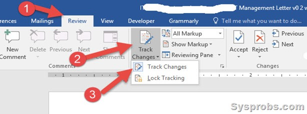 Enable track changes in Word 2016
