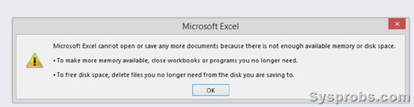 Excel disk spaca and ram issue while opening