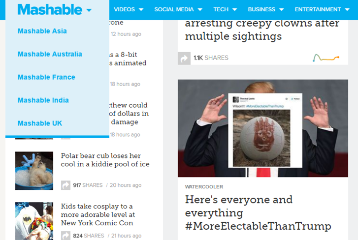 Mashable site like reddit