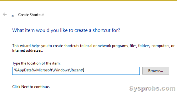 recent items shortcut in Windows 10 desktop