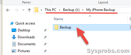 New location on iTunes backup