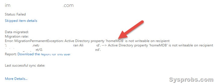 homedb error office 365