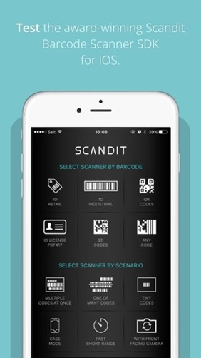 Free bar code scanner for iPhone - Scandit Barcode Scanner