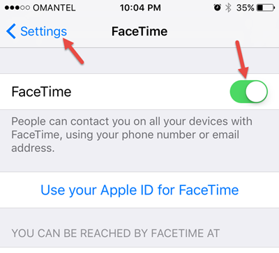Enable facetime when facetime is not working