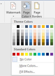 pick background color in word