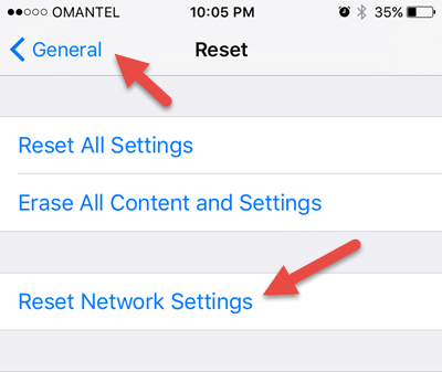 reset network settings when facetime is not working