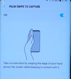 Swipe and capture screen Samsung S8 and Plus
