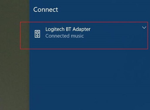 From quick connect in Windows 10
