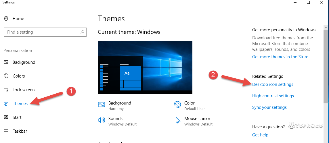 Icon Settings On Windows 10