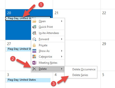 How to Remove Recurrence Holidays from Outlook Calendar