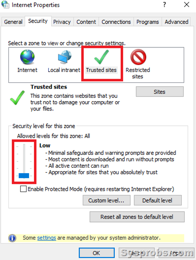 Trusted sites in IE to fix Windows has Blocked this Software issue