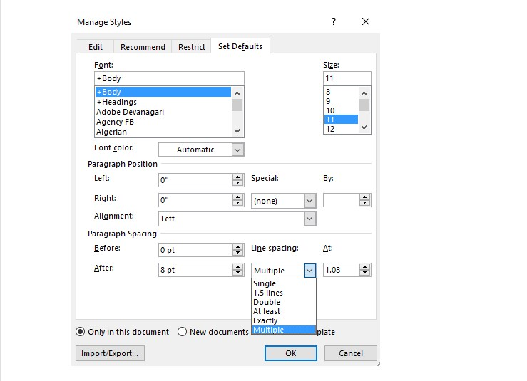 how to change line spacing in word 2013